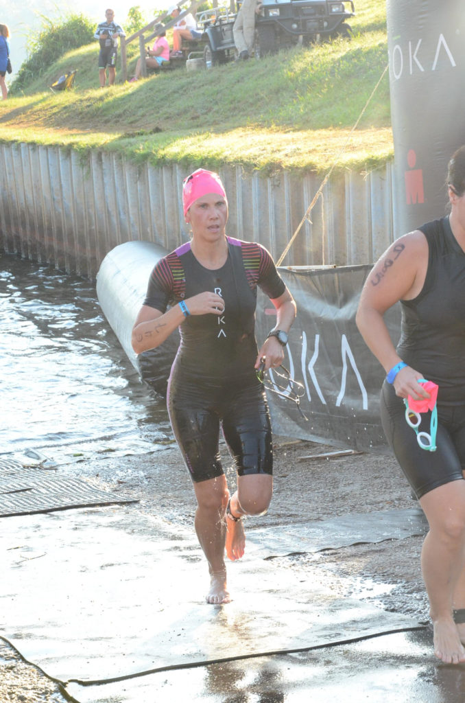Fiona Martin leaving swim exit Augusta 70.3