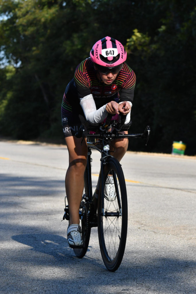 Fiona Martin on bike course at Augusta 70.3