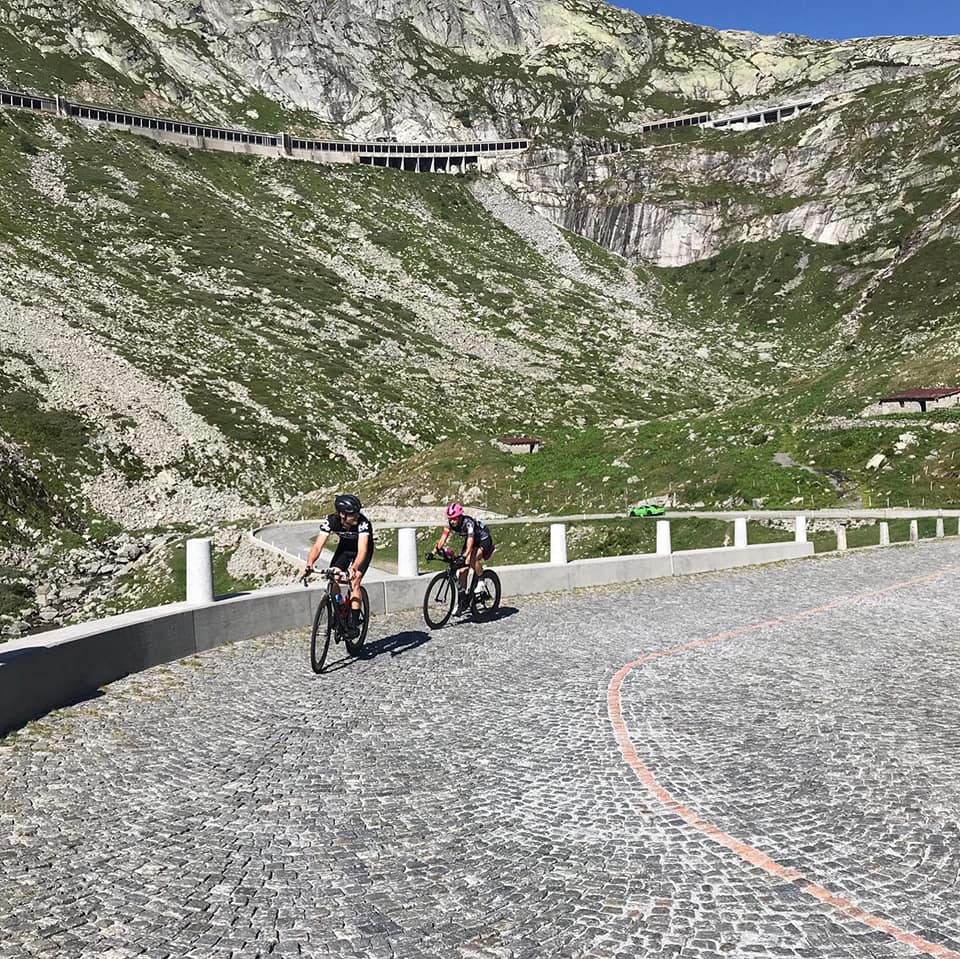 Lance Schultz and Fiona Martin on the St. Gotthard Pass